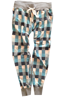 Plaid Reverse French Terry Pant