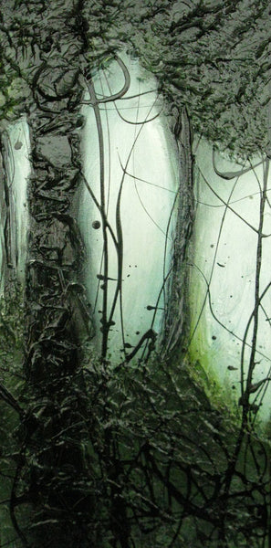 Painting of Dark Trees on light background