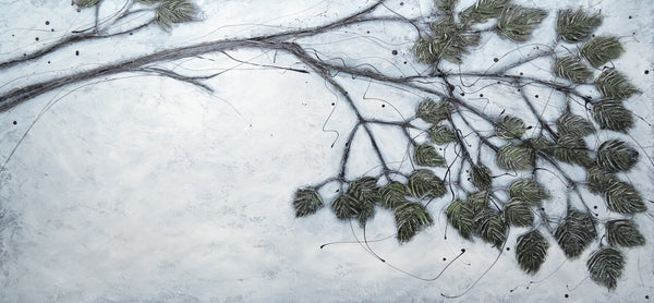 Painting of branch with dark leaves on light background