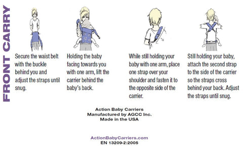 Front Carry in an Action Baby Carrier