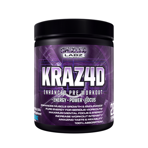 Best Pre Workout KRAZ4D Enhanced Formula. Energy Booster Assist in Power Focus Muscle Growth & More for Serious Workouts. Yohimbe Poweder Supplement Drink Greate Taste 100% Abosbption & No Side Effects