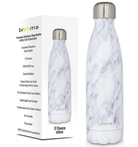 Insulated Stainless Steel Water Bottle - 17 oz - White Marble – Brimma d80480e5167e