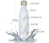 Insulated Stainless Steel Water Bottle - 17 oz - White Marble
