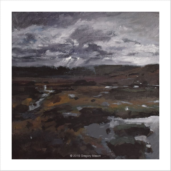 Painting - boggy day on Dartmoor near Cosden Hill