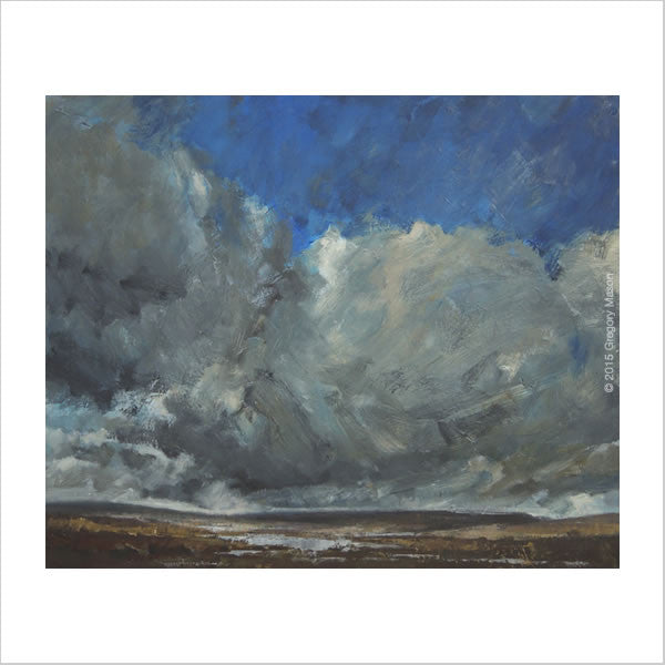 Oil Painting - clouds over a distant loch by Greg Mason