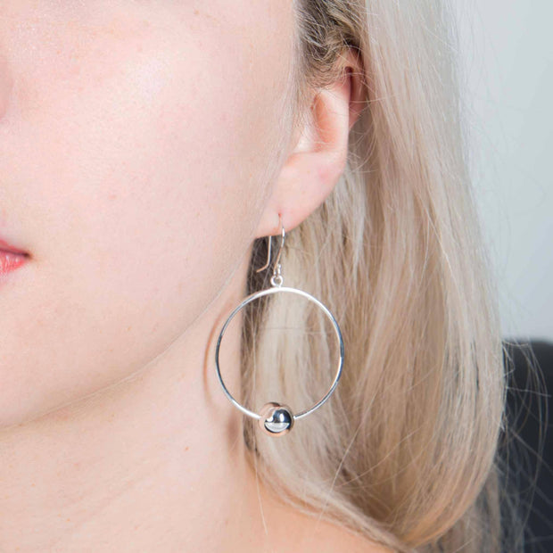 Silver sphere hoop earrings