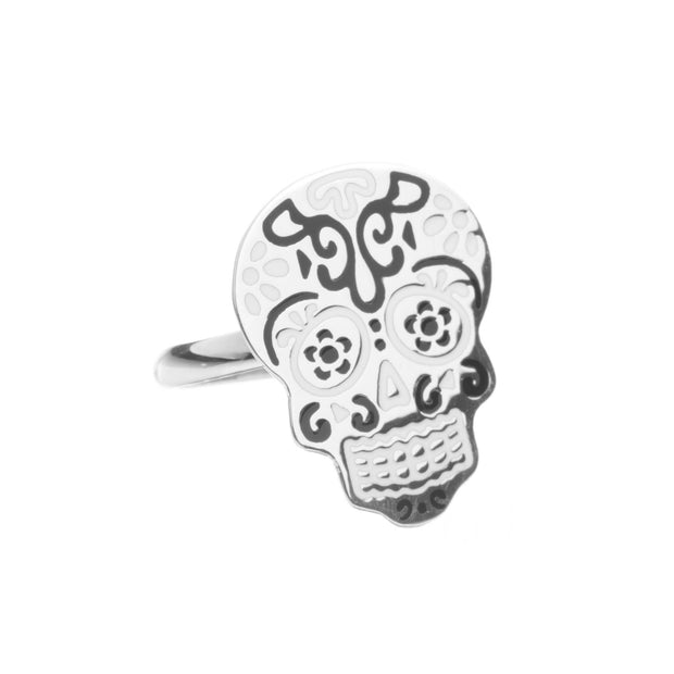 Traditional silver skull ring