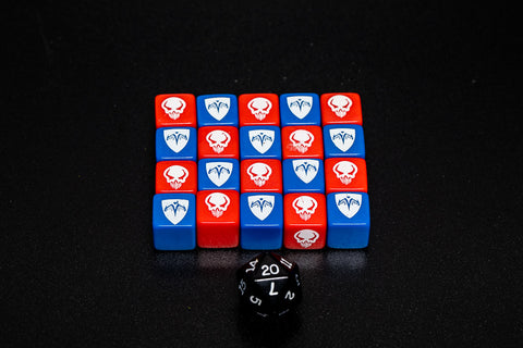 Red and Blue Combat Dice Set - ROTV 1st Edition-All Things Heroscape