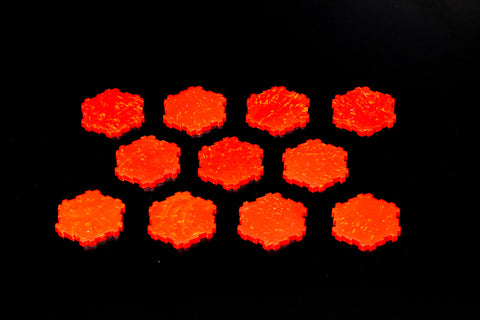 11 x 1-Hex Molten Lava Tiles-All Things Heroscape