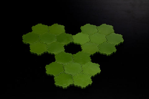 21 x 1-Hex Green Swamp Water Tiles-All Things Heroscape