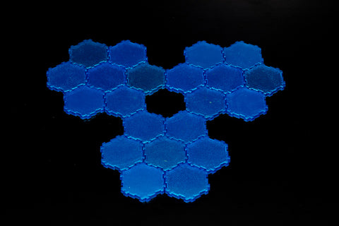 21 x 1-Hex Sparkly Water Tiles-All Things Heroscape