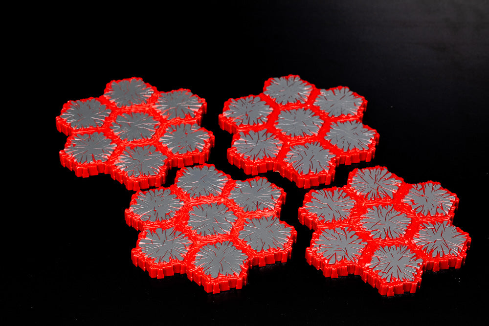 4 x 7-Hex Lava Tiles - All Things Heroscape