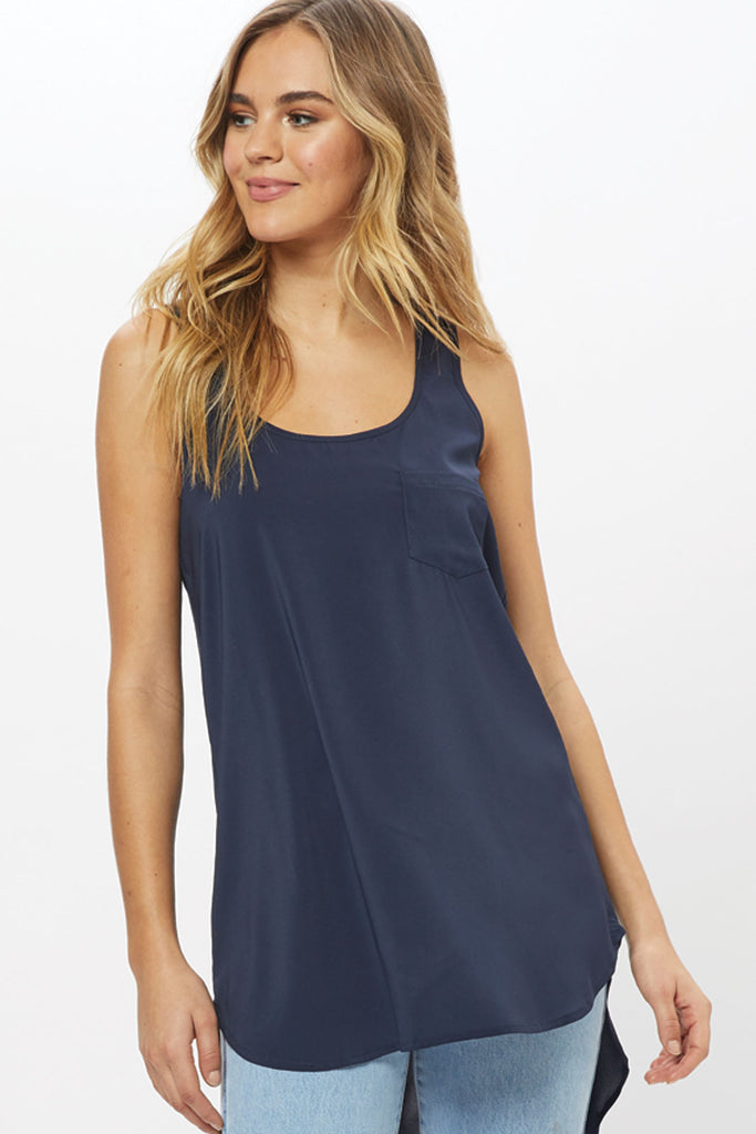 Long Pocket Tank - Navy