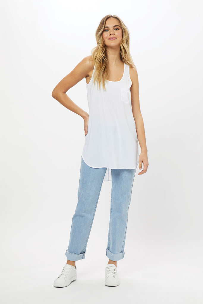 Long Pocket Tank - White