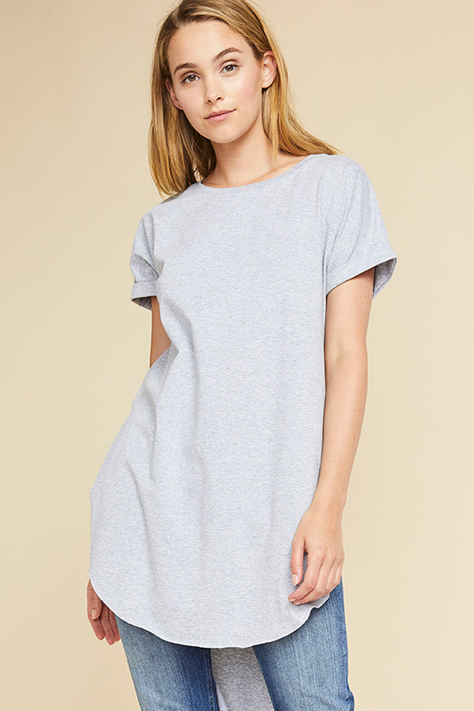 Gina Long Tail Tee - Grey