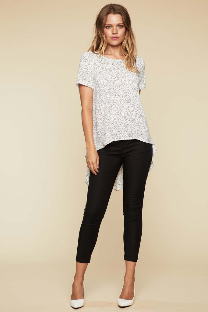 Joanna Waterfall Tail Top- White