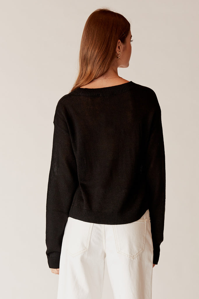 Ellie Twisted Crop Knit - Black