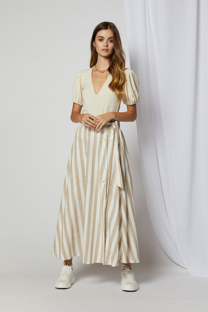 Willow Striped Button Up Maxi Skirt