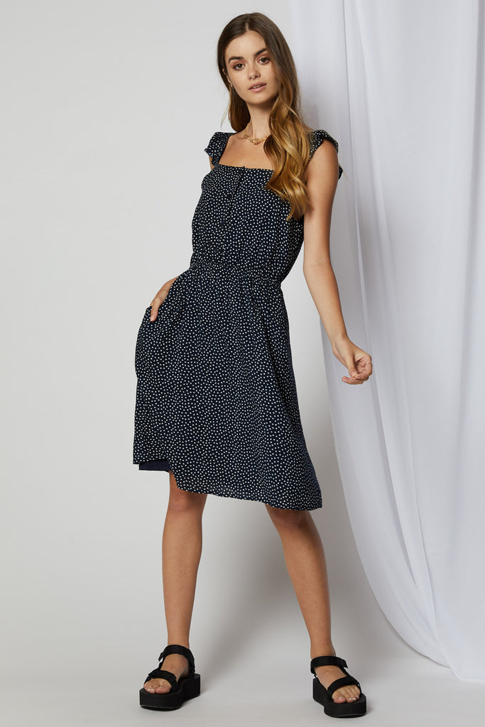 Rochelle Ruffle Cap Sleeve Dress