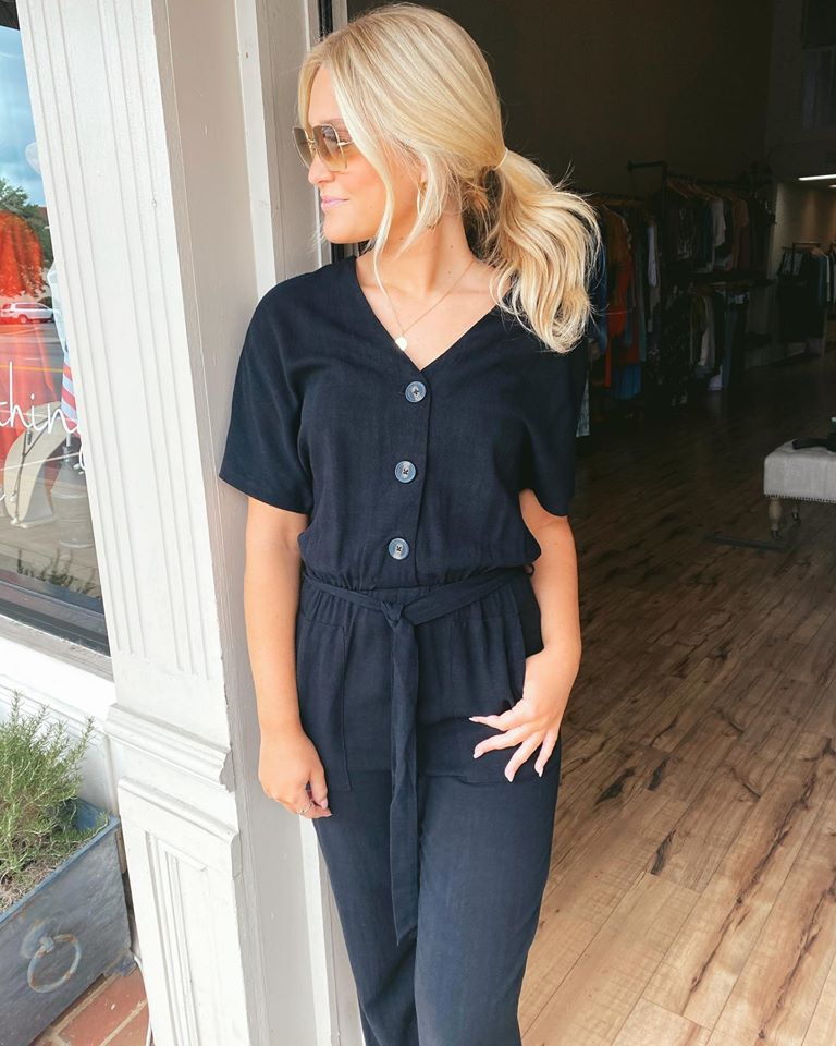 Button Front Black Jumpsuit