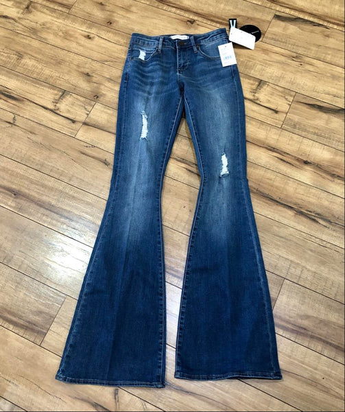 Faith Distressed Flare Mid Rise Jeans