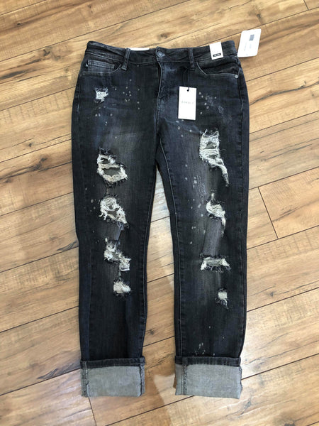 Distressed Black Boyfriend Jean