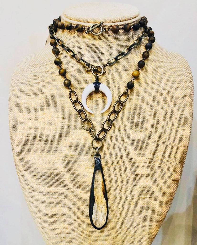 Beaded Crystal  Vintage Chain Necklace