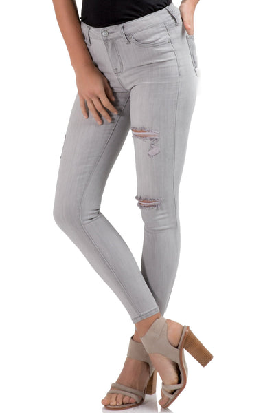 Grey Distressed Denim Skinny Jean