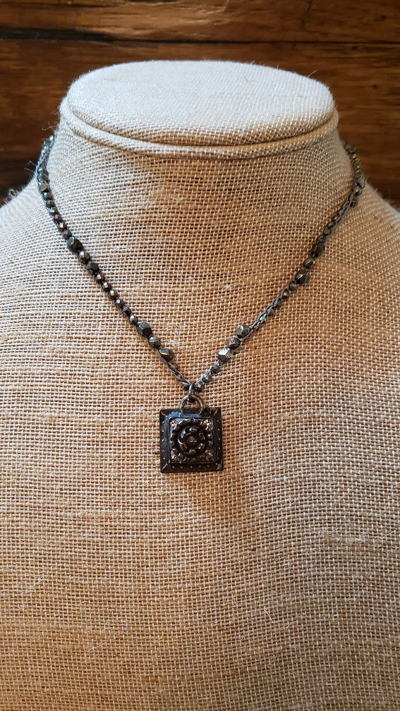 Local Georgia Artisan- Crochet Pyrite Chain with Hand-Made Pyrite Old Button Pendant