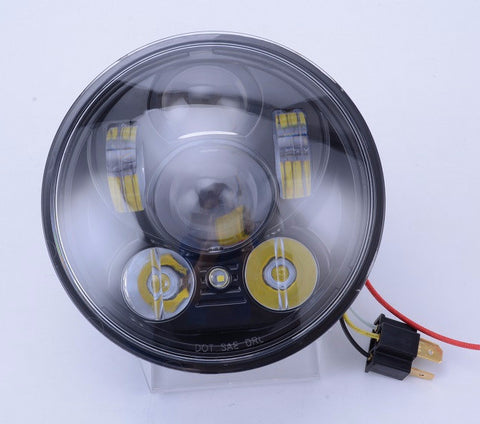 "Motorcycle Headlights - 5.75"" 50w LED Headlight Black"