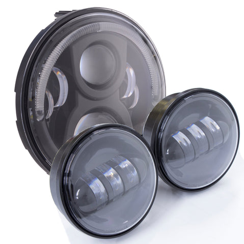 "Motorcycle Headlights - 7"" 80w Halo & 4.5"" Aux Bundle"
