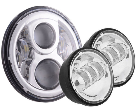 "Motorcycle Headlights - 7"" 80w LED Headlight, 4.5"" Aux Package & Mounting Bracket"