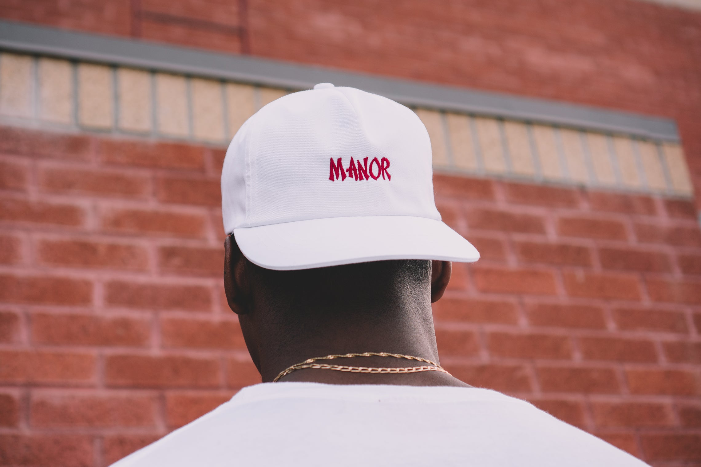 "Manor ""Take Out"" Snapback hat -  White / Red"