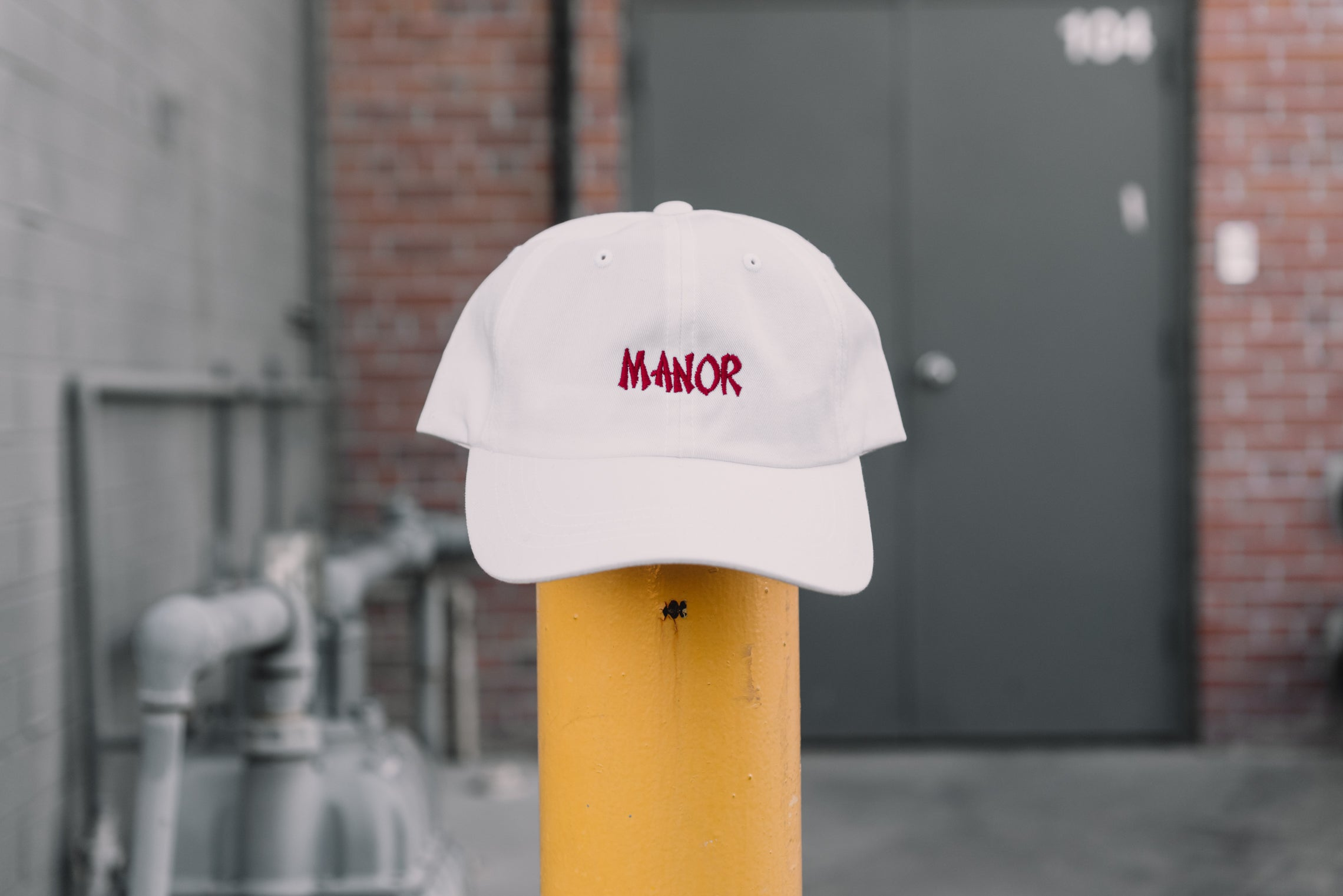 "Manor ""Take Out"" Dad Hat -  White / Red"