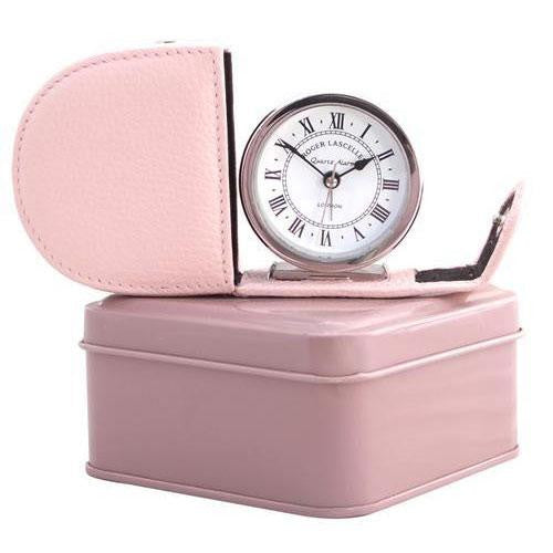 Fold Away Alarm, Genuine Leather Pink Case & Tin