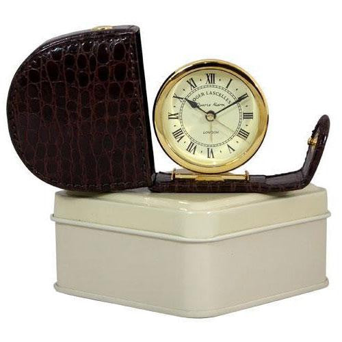Imitation Crocodile Case & Tin Fold Away Alarm Clock
