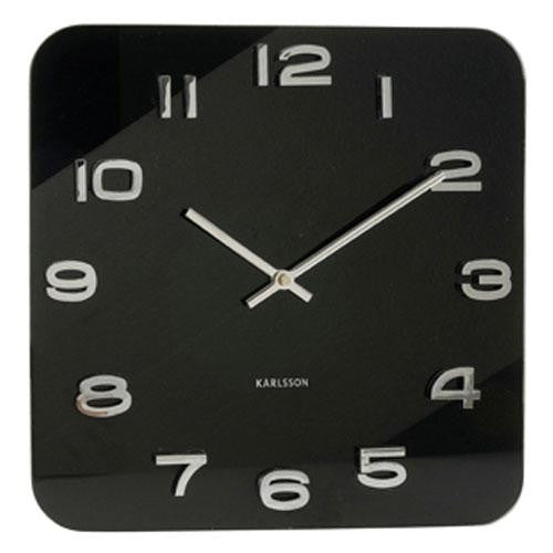 Vintage Black Glass Wall Clock