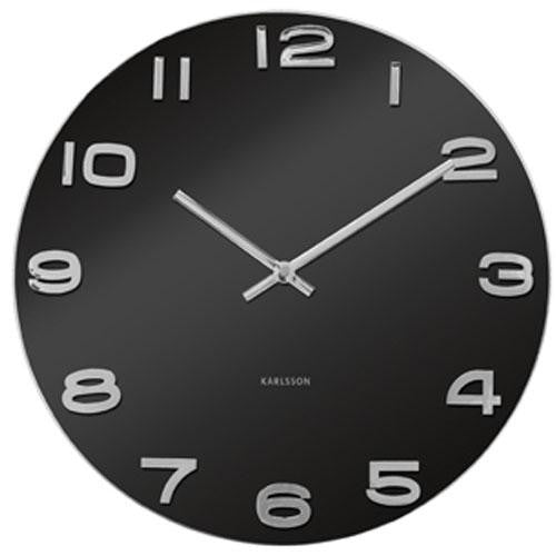 Vintage Black Round Glass Wall Clock (35cm)