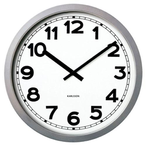 Silver Metal Giant Numbers Wall Clock (99cm)