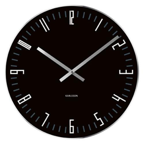 Black Glass Slim Index Wall Clock (40cm)