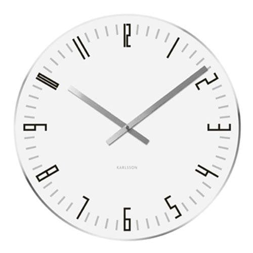 White Glass Slim Index Wall Clock (40cm)