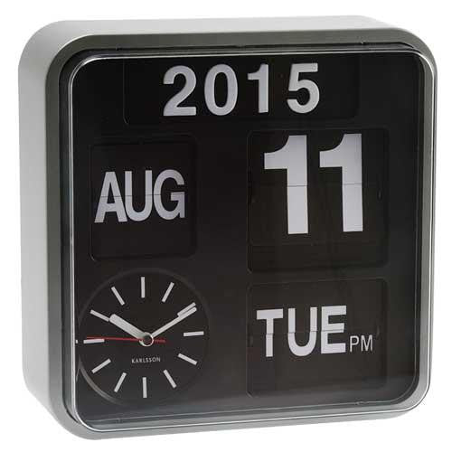 Silver Mini Flip Calendar Wall/Table Clock