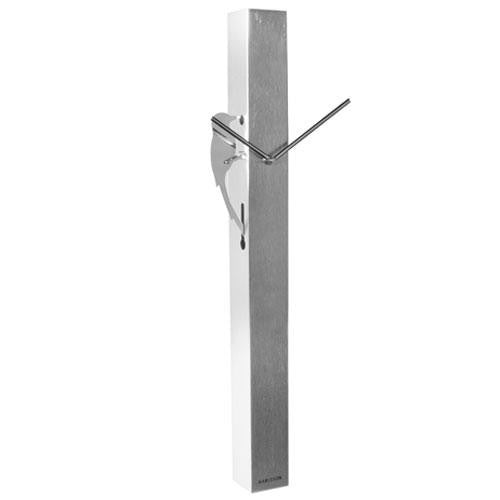 Chrome Steel Woodpecker Tube Wall Clock