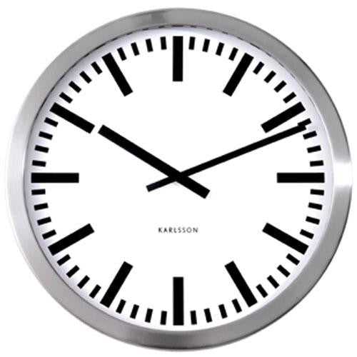 Polished Steel Station Wall Clock (50cm)