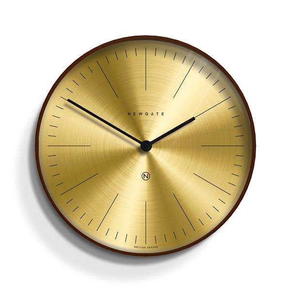 NEWGATE MR CLARKE WALL CLOCK - DARK PLYWOOD - SPUN BRASS DIAL