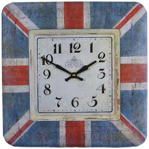 Union Jack Square Tin Retro Wall Clock