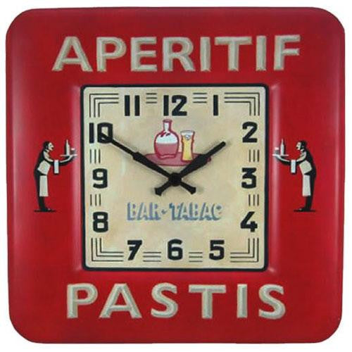 Square Tin Wall Clock - Bistro Design (31cm)