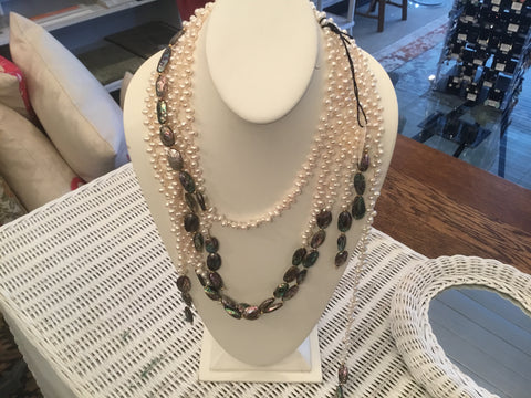 White pearls paua shells 3 - strand ( Locally handcrafted )