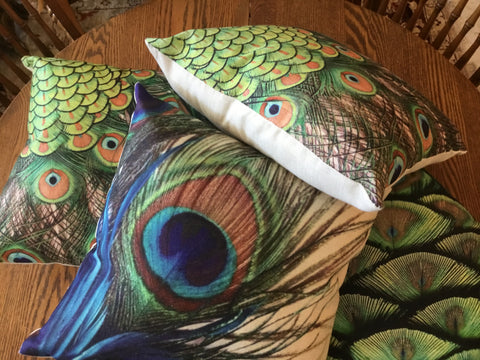 Linen peacock pillow cases