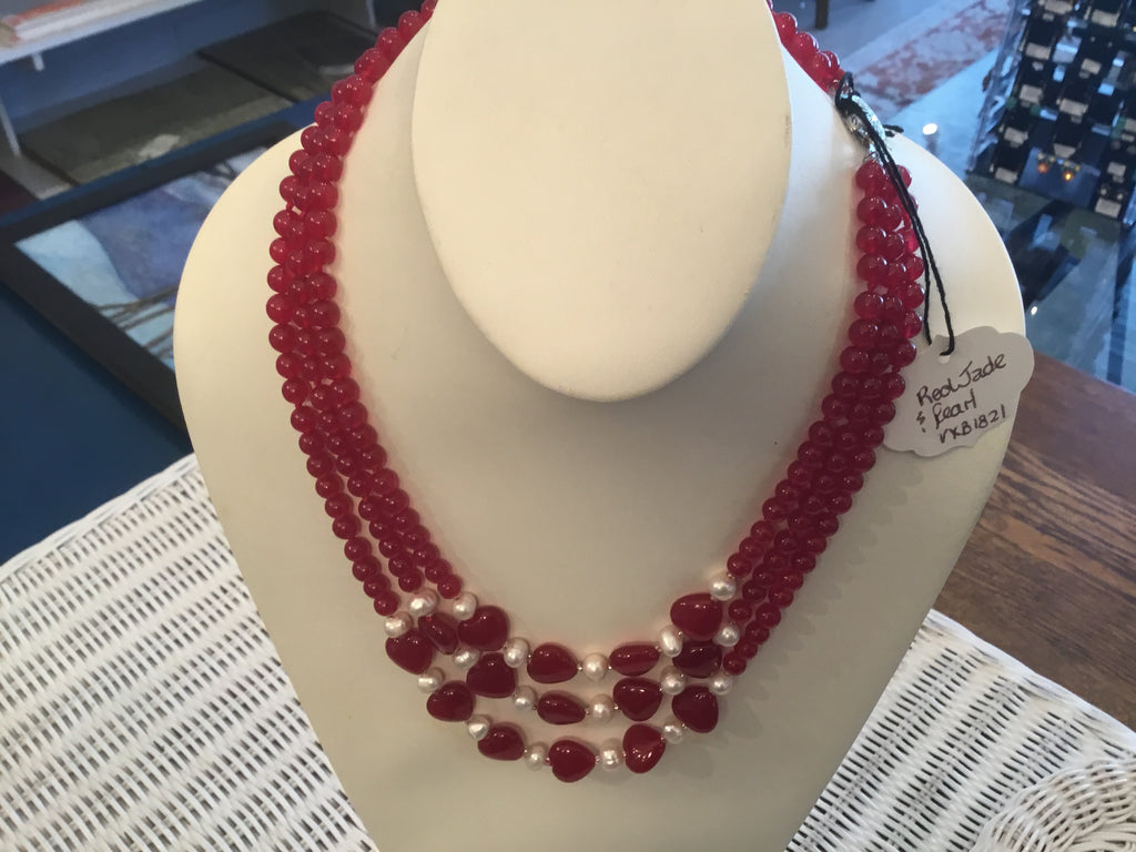 Red jade with pearl necklace,Locally made and  handcrafted